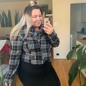 Houndstooth Stretchy Cropped Jacket Blazer